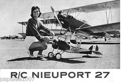 """Model Airplane Plans (RC): Nieuport 27 1/5 Scale 64"""" Biplane for .35-.45 Engine"""