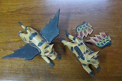 Indonesian / Balinese Handcrafted Wooden Brown Flying Hanging Cats