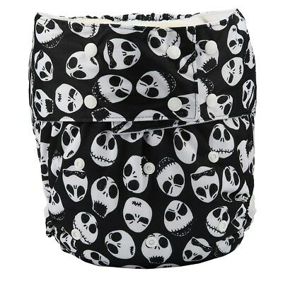 Adult Cloth Diaper Nappy Teen Reusable Washable Disability Incontinence Skull