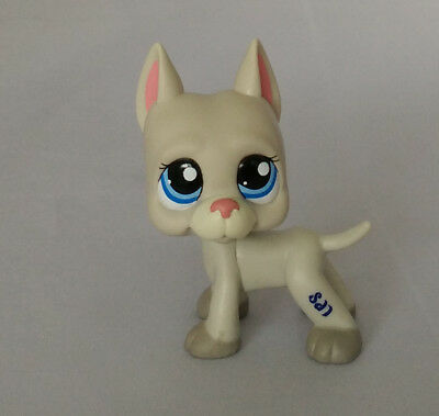 littlest pet shop LPS228 gray great dane  puppy dog with blue eyes