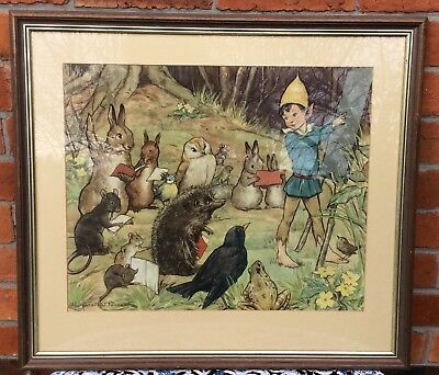 "Vintage Margaret W Tarrant ""lesson Time "" Print With Boy Elf, Rabbits, Birds +"