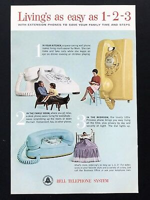 1963 Vintage Print Ad BELL TELEPHONE SYSTEM Princess Phone In Every Room