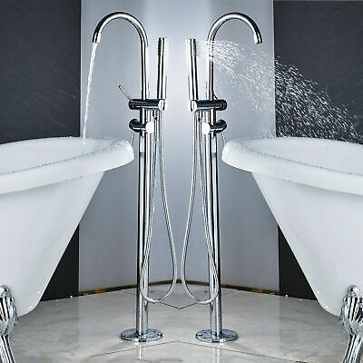 Bathroom Tub Faucet Waterfall Chrome Free Standing 2 Handle Tub Filler Mixer Tap