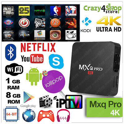 MXQ PRO 4K ANDROID TV BOX IPTV AMLOGIC S905 PROCESSOR 2Ghz Smart IPTV BOX