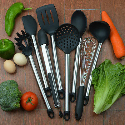 8 Piece Cooking Utensils Nonstick Utensil Set Silicone and Stainless Steel Kits
