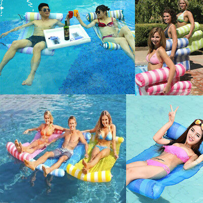 Water Hammock Pool Lounge Bed Chair Inflatable Floating Float Summer Swimming AU