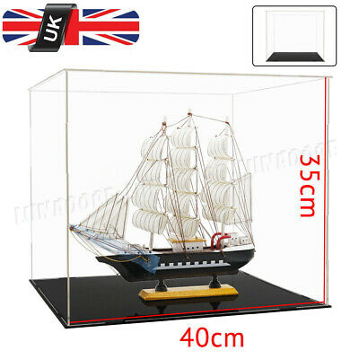 UK 40L x 35H cm Acrylic Clear Plastic Large Display Box Perspex Case Dustproof