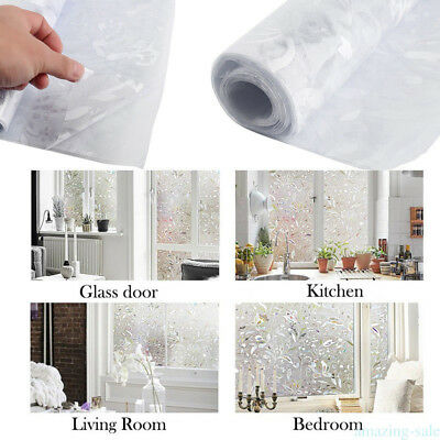 Frosted Stained Sticker Glass Static Window Film 100X45cm Home Privacy Decor KP9
