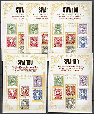 Gedenkblatt-Nationale Briefmarkenau. Windhoek 7-11 August1984 5 Stück postfrisch