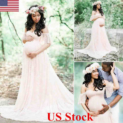 US Pregnant Women Off Shoulder Lace Maxi Dress Gown Maternity Photography Props