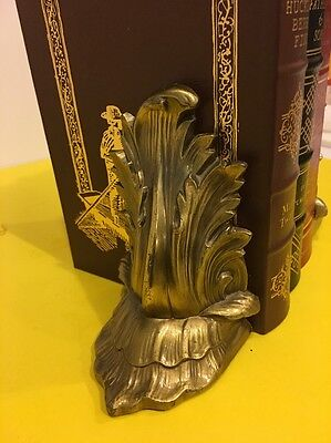 Pair Of Floral Metal Book Ends USA