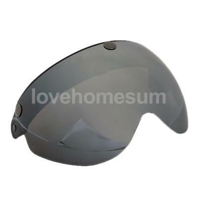 Motorcycle Helmets 3/4 Face 3 Snap Flip Up Visor Shield with Lens-Brown