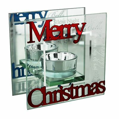 Winter Wonderland Mirror Glass Single Tealight Candle Holder Merry Christmas