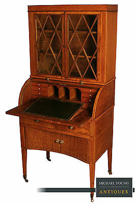 Antique George III Small Mahogany Bureau Cabinet circa 1785