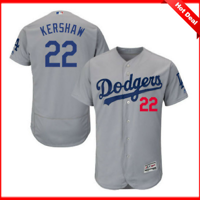 New Clayton Kershaw #22 Los Angeles Dodgers Mens Flex Base Jersey gray