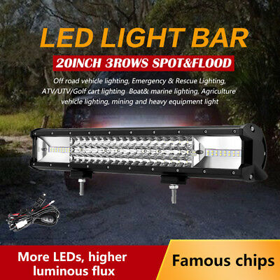 "20"" 1080W PHILIPS 3ROWS Spot&Flood LED Work Light Bar SUV Offroad Truck 4WD 4X4"