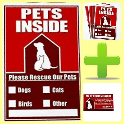 In Case Of Fire or Other Emergency Pet Finder Sticker Kit With 4 Pet Alert Stick