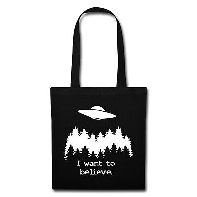 """""""I want to believe."""" X Files TV Aliens UFO Inspired Tote Bag"""