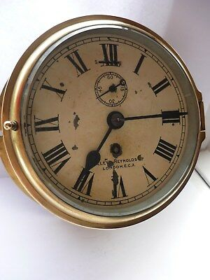 Antique Lilley & Reynolds  Brass Ships 8 Day Clock Nautical Marine Serviced