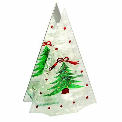 Frosted Christmas Tree Shaped Double Tealight Candle Holder Christmas Decoration