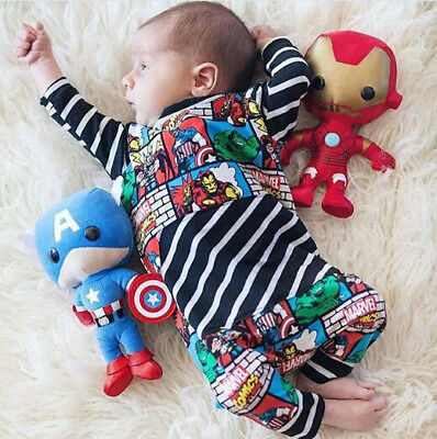 AU STOCK Newborn Baby Boy Superhero Rompers Bodysuit Jumpsuit Outfit Clothes Set