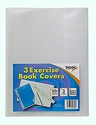 """A5 Clear Exercise Book Covers /plastic protecting sleeve  9""""x7"""" / Tiger 301756"""