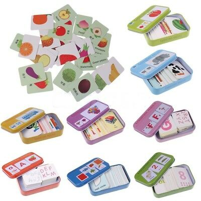Baby Kids Cognition  Train Puzzle Toys Toddler Iron Box Cards Matching Game