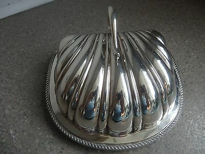 Antique Silver Plated Butter/Cheese Dish Shell Domed Art Nouveau.