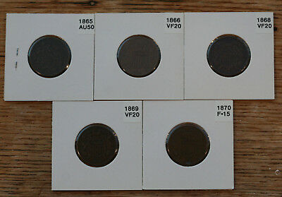 Lot of 2 Cent Coins 1865 (Fancy 5), 1866, 1868, 1869 and 1870 Murphy Estate N/R