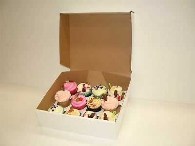 White Non Windowed Stackable Cupcake Boxes - Select 12 & 24 hole