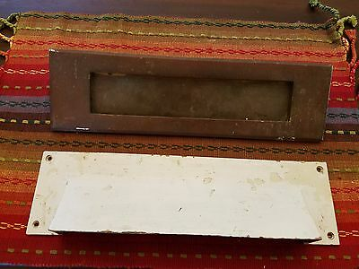 Antique Architectural Salvage 1901 Brass 2 Pc Hinged Mail Slot Legal Sz Detroit