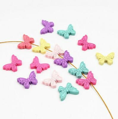 Butterfly Wood Beads Mix Color Spacer Baby Pacifier Clip Jewelry Making DIY
