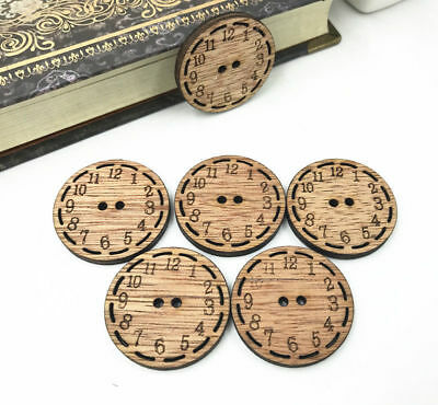 Wooden Buttons clock Wood color Fit decoration Sewing scrapbooking 30mm