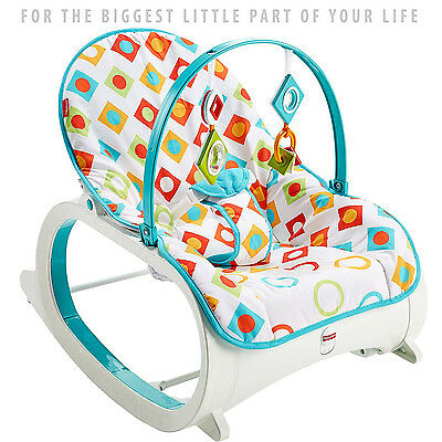 Infant to Toddler Rocking Chair by Fisher Price I Baby Seat with Two Bat-at Toys