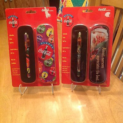 2 NIP Coca-Cola pens With Collector's Tins 1995
