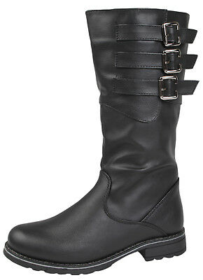 Girls Knee High Biker Riding Boots Kids Winter Faux Leather Buckle Shoes Size