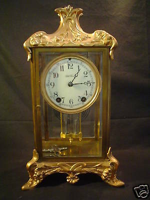 ANTIQUE SETH THOMAS GILT CASE CRYSTAL REGULATOR CLOCK,  c. 1900