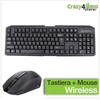 KIT MOUSE E TASTIERA WIRELESS PER PC 2.4GHz DESKTOP WIFI USB KEYBOARD SENZA FILI