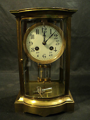 ANTIQUE FRENCH CRYSTAL REGULATOR CLOCK, BOW FRONT, c.1900