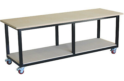 Mobile steel work bench 2400 x 800mm, direct from our Melbourne factory
