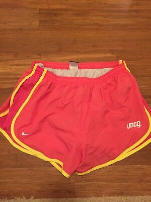 UNCG Nike Dri Fit Womens Size Large Pink/yellow Athletic Running Shorts Lined