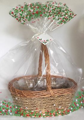2 x CHRISTMAS HAMPER BASKET Gift Cake CELLOPHANE DISPLAY BAGS Large With Ties