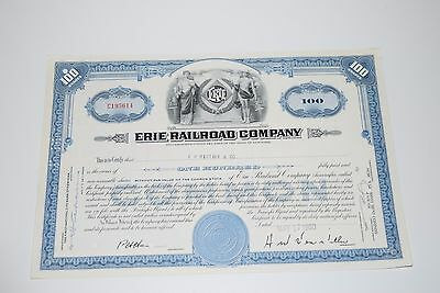 Vintage Erie Railroad Company 100 Shares 1960 Stock Certificate