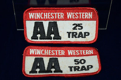 LOT-of-2-VINTAGE-WINCHESTER-WESTERN-AA-25-TRAP-amp-50-TRAP-SEW-ON-PATCH-