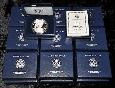 2011-W GEM PROOF AMERICAN SILVER EAGLE 25th ANNIVERSARY w/ OGP - WHOLESALE DEAL!