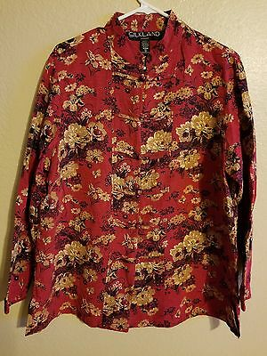 Antique CHINESE TRADITIONAL EMBROIDERED Beads WOMANS Blouse loSLEEVE Red Floral
