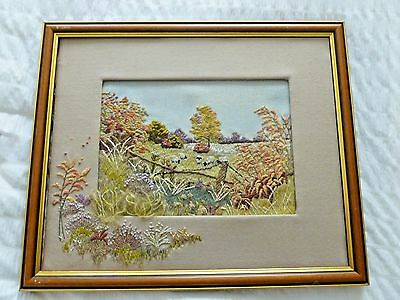 Beautiful hand-stitched framed embroidery country scene with sheep with mount
