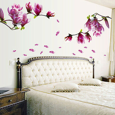 DIY Magnolia Flower Wall Decal Vinyl Sticker Mural Living Room Home Decor SUST