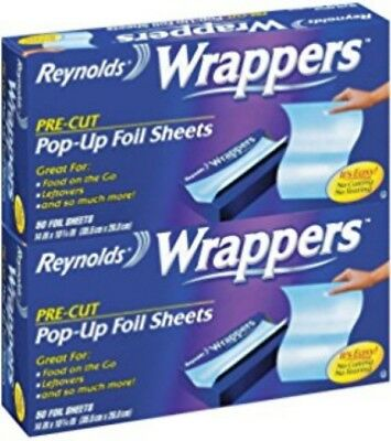 Reynolds Wrappers Pre-Cut Pop Up Foil Sheets 2 Pack 50 Count Baking Cooking!!!