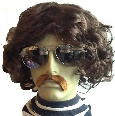 Brown Wavy Middle Parting Style Men's Fancy Dress Wig & Droop Self Adh Moustache